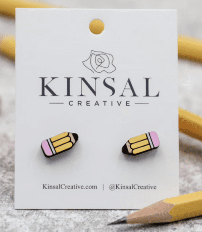 Mini yellow pencil post earrings