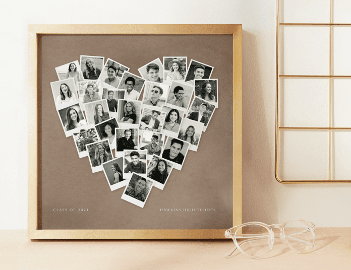 Heart photo collage on cork board -- best graduation gifts for students