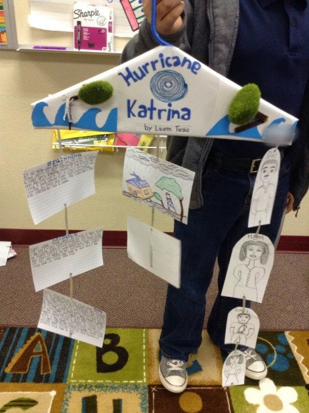 a book report mobile made from a hanger, string and notecards