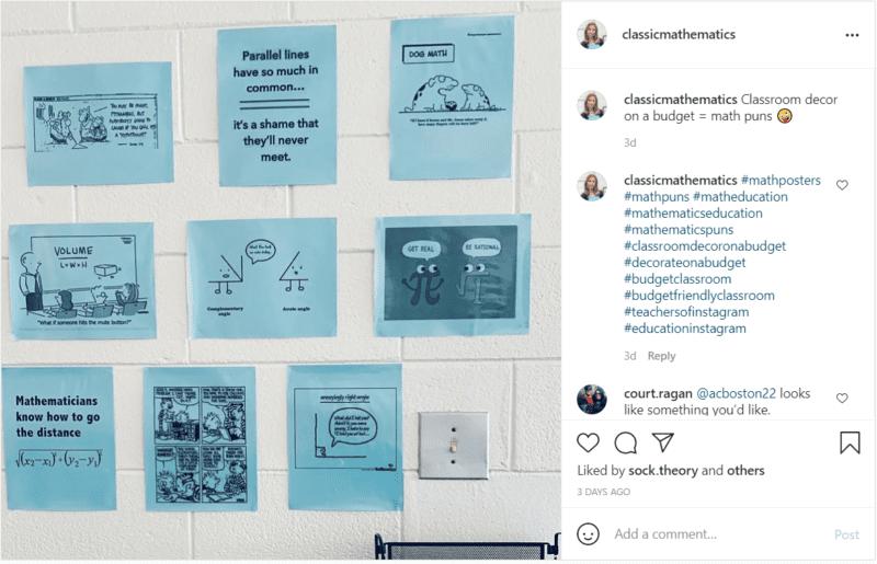 Money-saver classrooms decor idea printable math puns