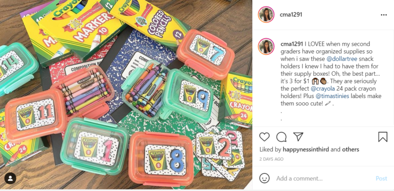 Dollar store snack holders used as money-saver classrooms school supply boxes for crayons