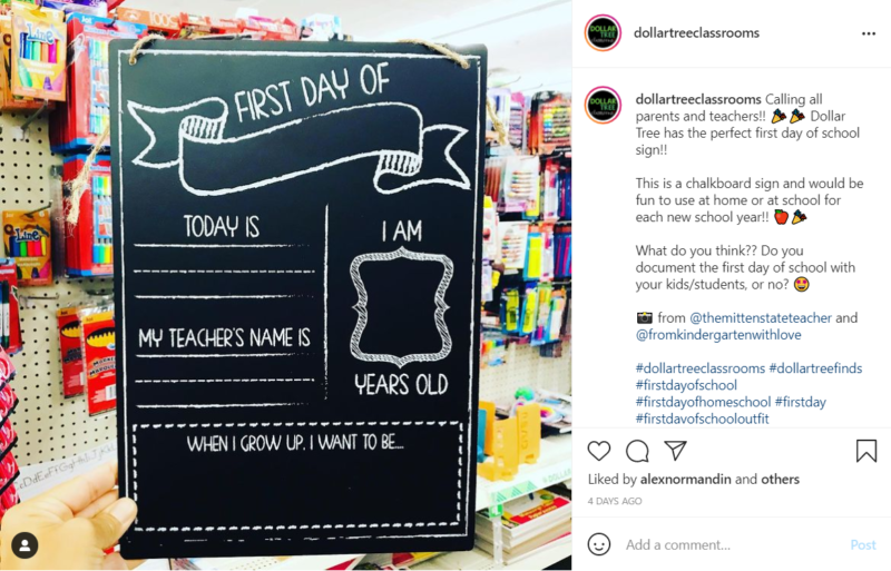 Chalkboard First Day of School sign found at dollar store
