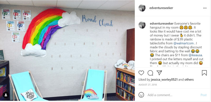 Money-saver classrooms idea for Proud Cloud rainbow decor