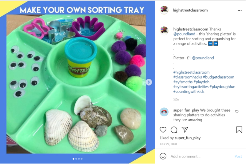 Dollar store green sharing platter used as classroom sorting tray