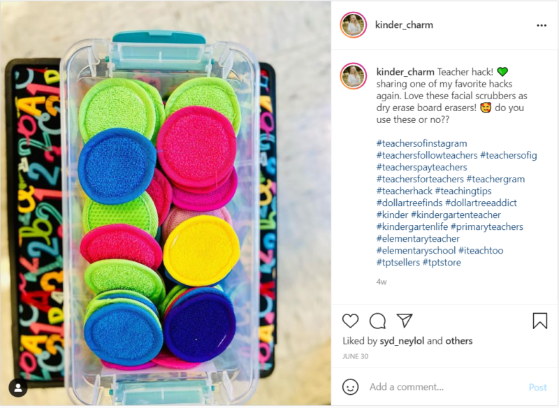 Facial scrubbers used as dry erase board erasers in classroom