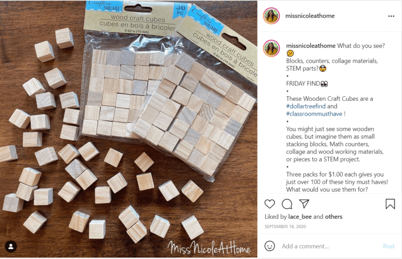 Wooden craft blocks used for STEM classroom projects