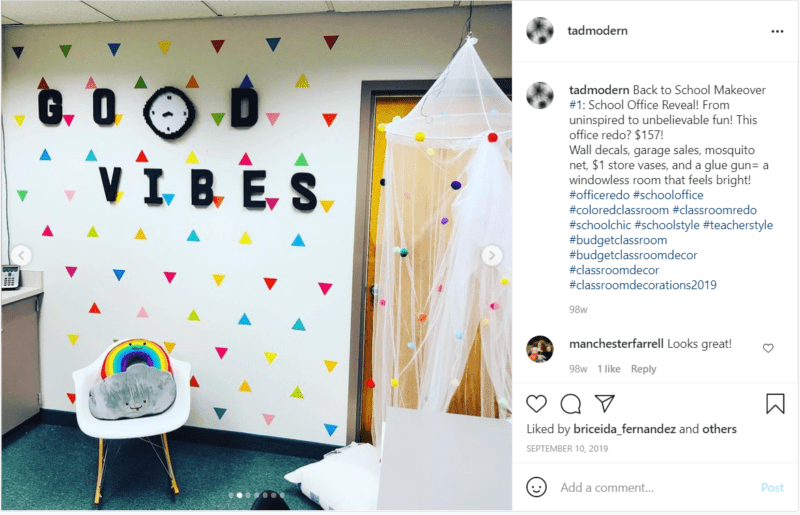 """Transformed school officer with colorful wallpaper and """"Good Vibes"""" on wall"""