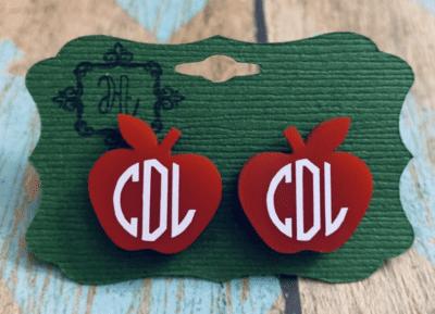 Custom monogram apple post earrings for teachers