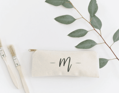 cute Monogram pencil pouch with handwritten letter