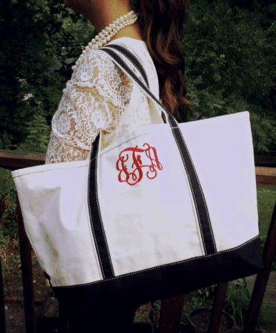 Large monogram tote bag