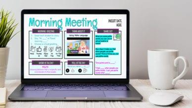 Laptop screen showing morning meeting Google Slides for January