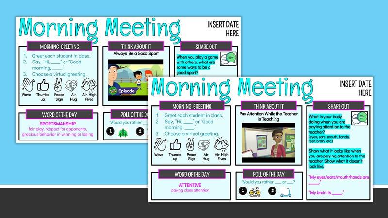 Splay of morning meeting Google Slides for January