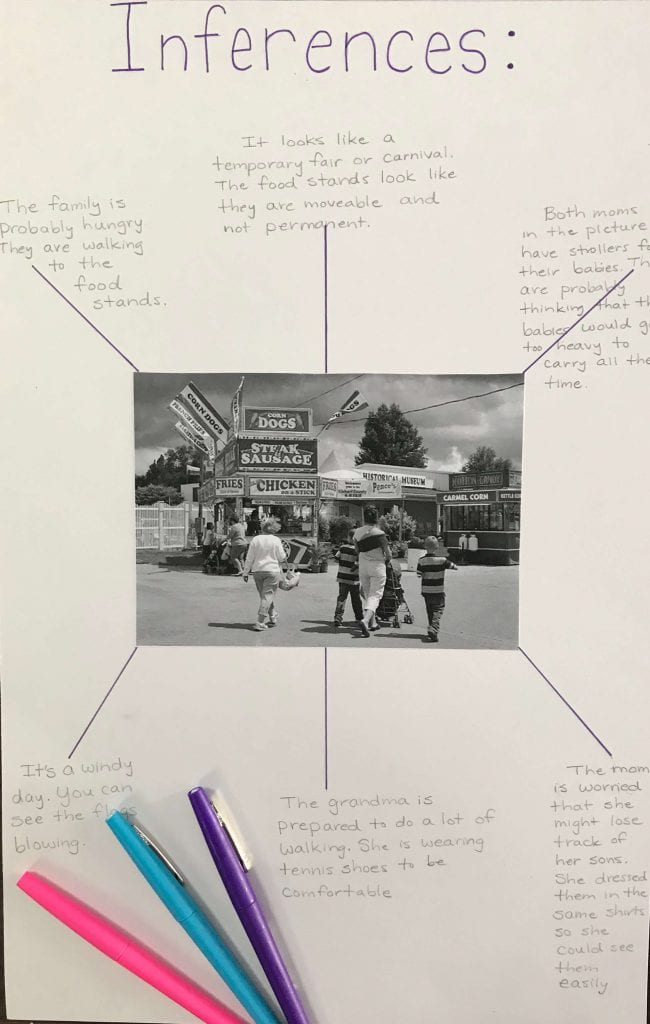 Student worksheet with a photo in the middle and written comments around it