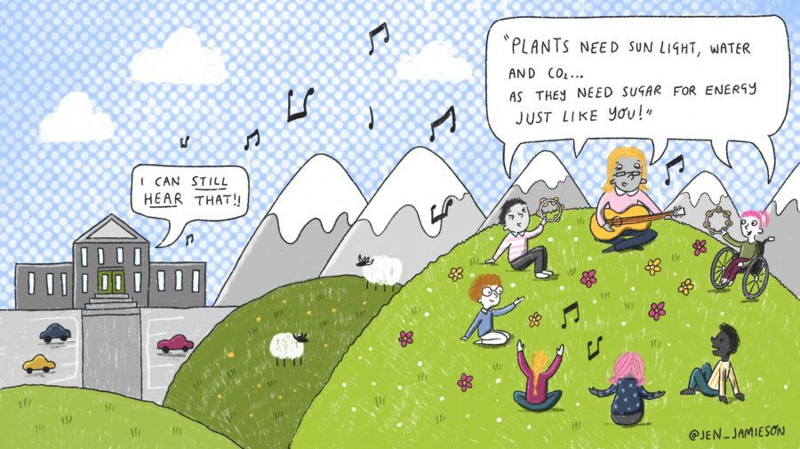 """Illustration of teacher and students singing on a hillside with """"I can still hear that"""" speech bubble coming from a school"""