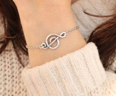 Silver music note bracelet