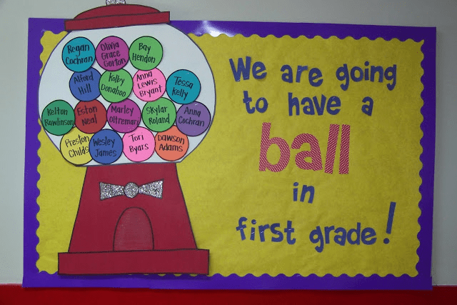 Gumball name bulletin board