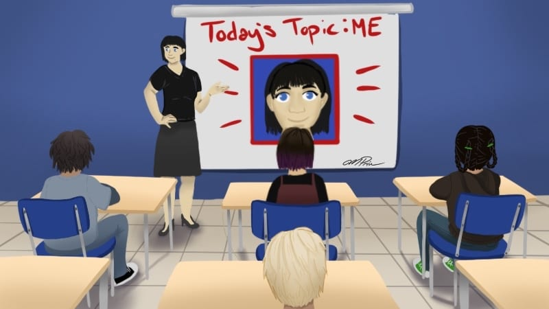 """Teacher in front of white board with text """"Today's Topic: ME!"""""""