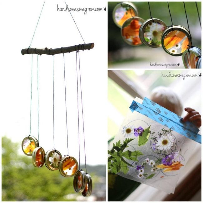 recycled lid wind chime craft