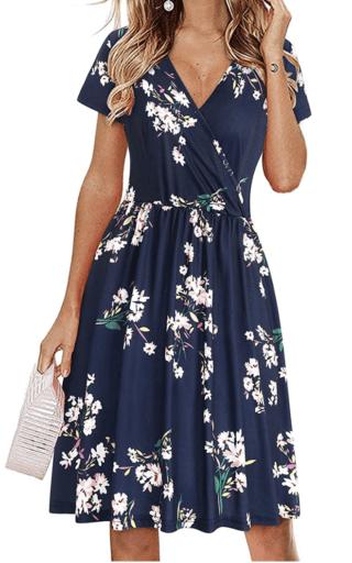 Navy floral pocket dress