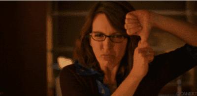 Tina Fey giving a thumbs down