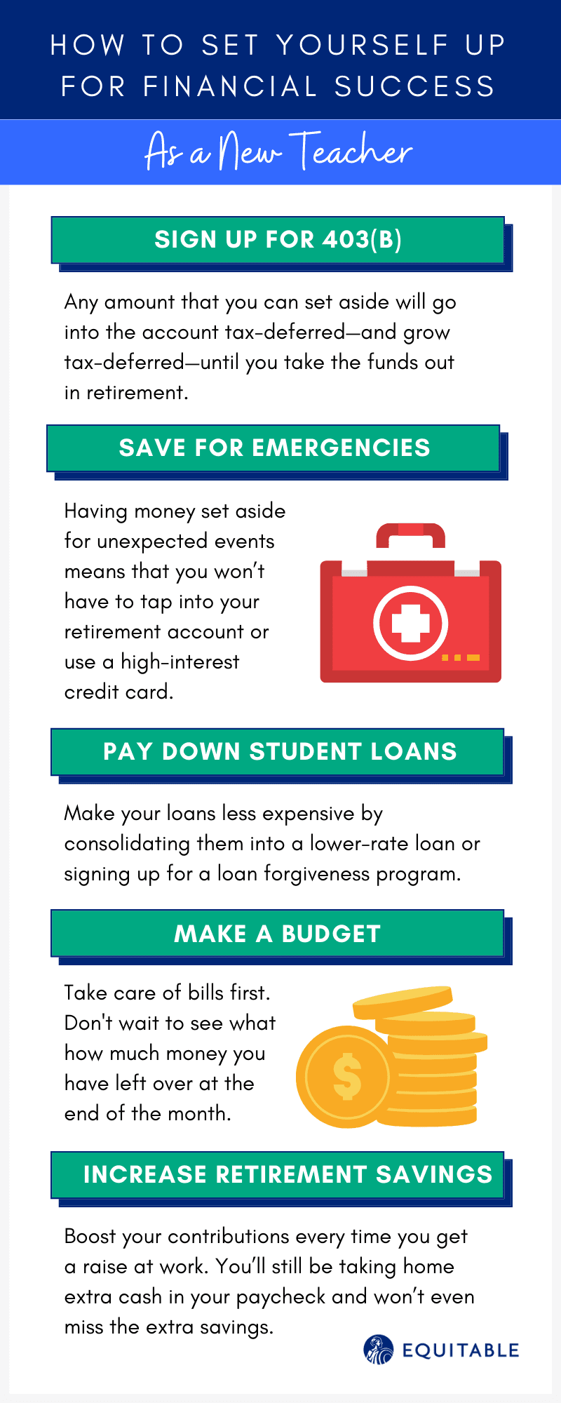 Infographic of How to Set Yourself Up for Financial Success as a New Teacher