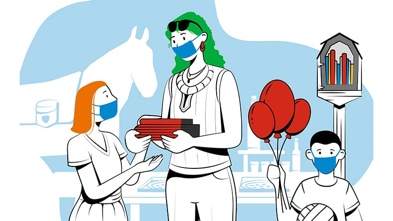 Illustration of teacher and two children in masks in front of a little free library
