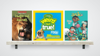 Nonfiction books for reluctant readers on a shelf.