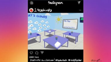 Hand-drawn Instagram post with decorated classroom
