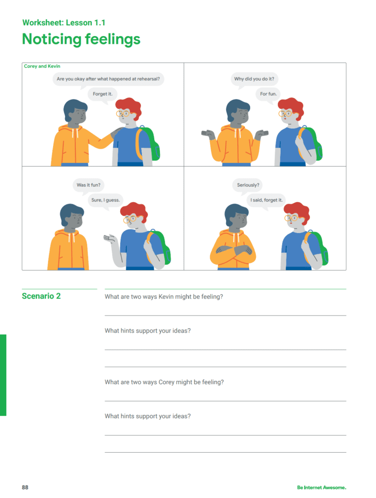 Screenshot of Noticing Feelings worksheet from Google's Be Internet Awesome curriculum