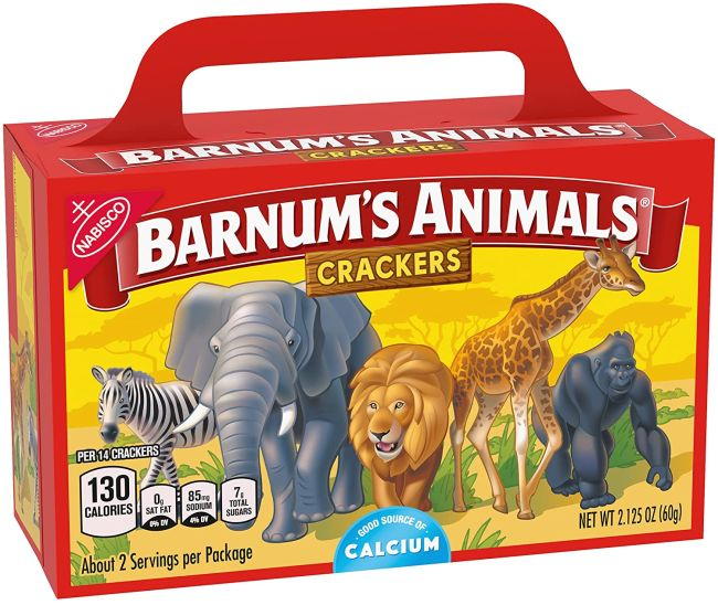 Barnum's Animal Crackers in the traditional box with a handle
