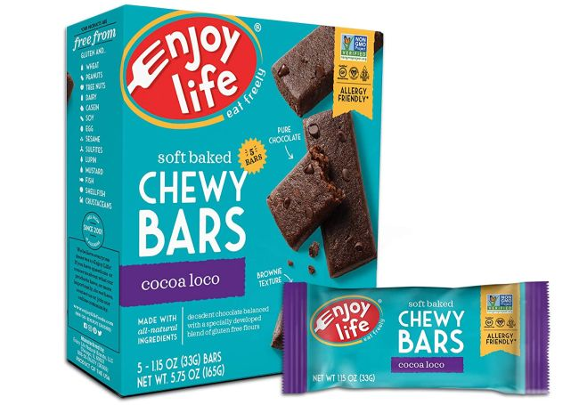 Box and bar of Enjoy Life Chewy Bars in Coco Loco flavor