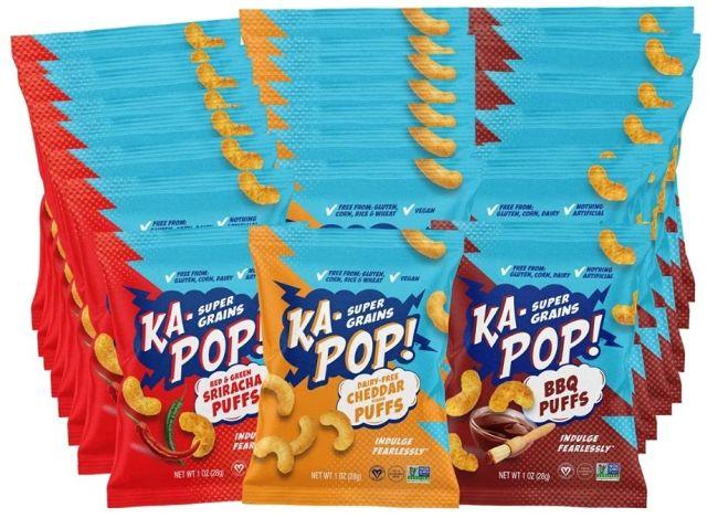 Nut-Free Snacks: Ka-Pop! Savory Puffs in barbecue, cheese, and sriracha
