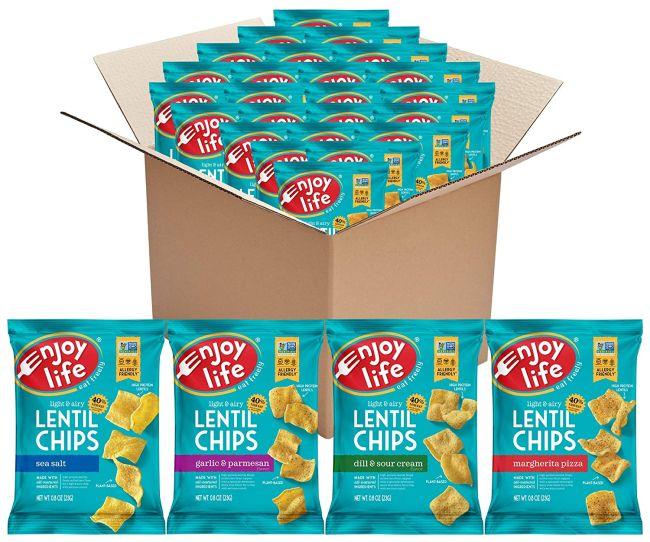 Enjoy Life Lentil Chips in a cardboard box