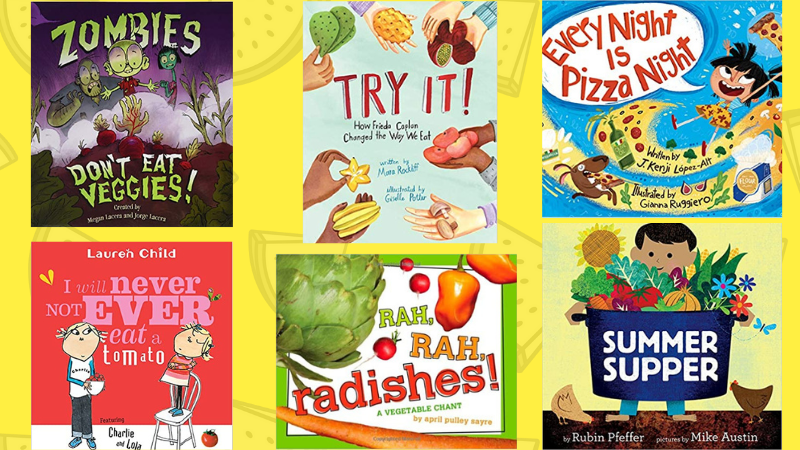 Collage of six books about nutrition and healthy eating habits for the classroom