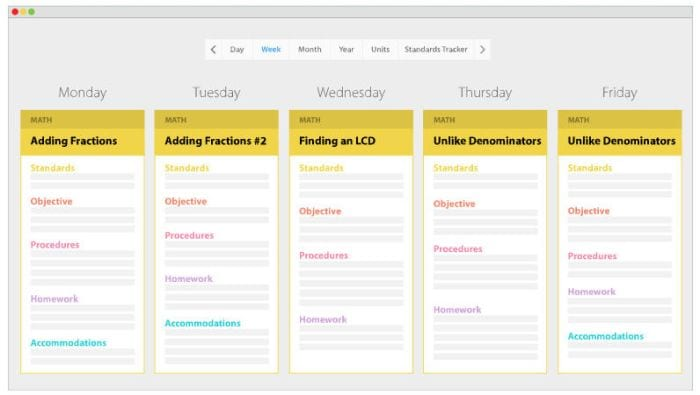 Screenshot of Common Curriculum showing math plans day by day (Online Planners for Teachers)