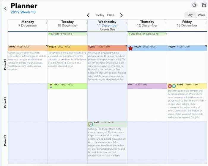 Screenshot of iDoceo online planners for teachers