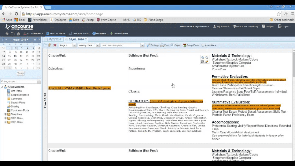 Screenshot of OnCourse showing lessons plans by the day