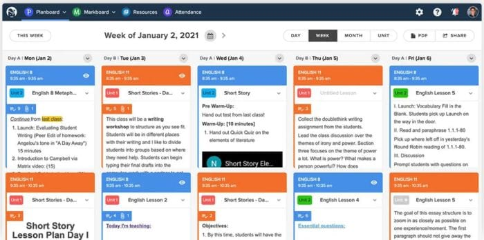 Screenshot of Planboard, showing daily lesson plans in various colors