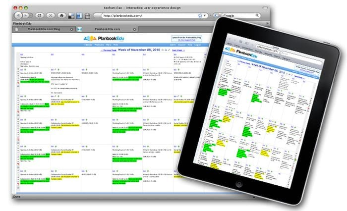 Screenshot of PlanbookEdu shown on a computer screen and tablet (Best Online Planners for Teachers)