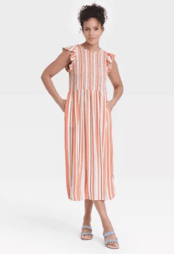 Orange striped smocked dress