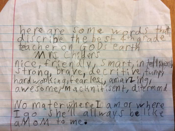 Here are some words that describe the best 4th grade teacher on God's earth.