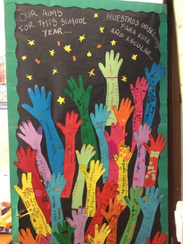 """Door decoration of arms outstretched towards the stars, and the words """"Our aims for this school year..."""" -- classroom doors"""