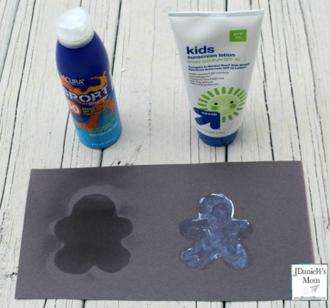 Two kinds of sunscreen with a piece of black construction paper