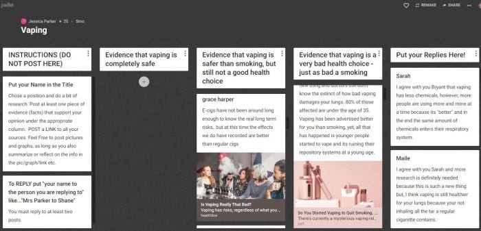 Padlet with facts about vaping and student discussion