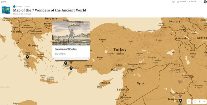 Padlet showing map of the 7 ancient wonders of the world (Padlet for Teachers)