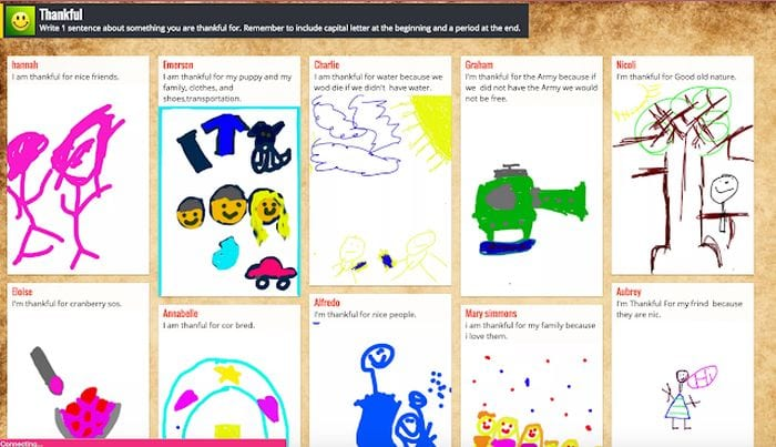 Padlet showing student responses to a prompt asking why they are thankful