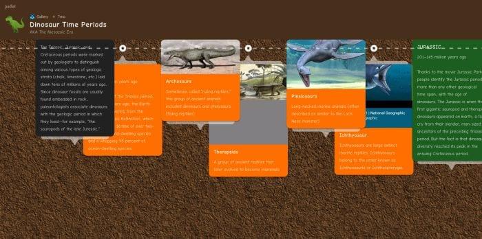 Padlet timeline of dinosaur eras (Padlet for Teachers)