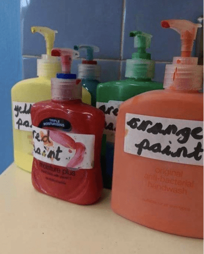 Paint in soap dispensers