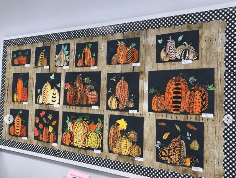 Student created pumpkins for fall bulletin boards