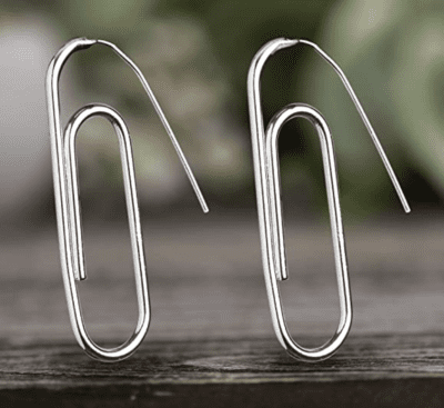 Silver paper clip earrings